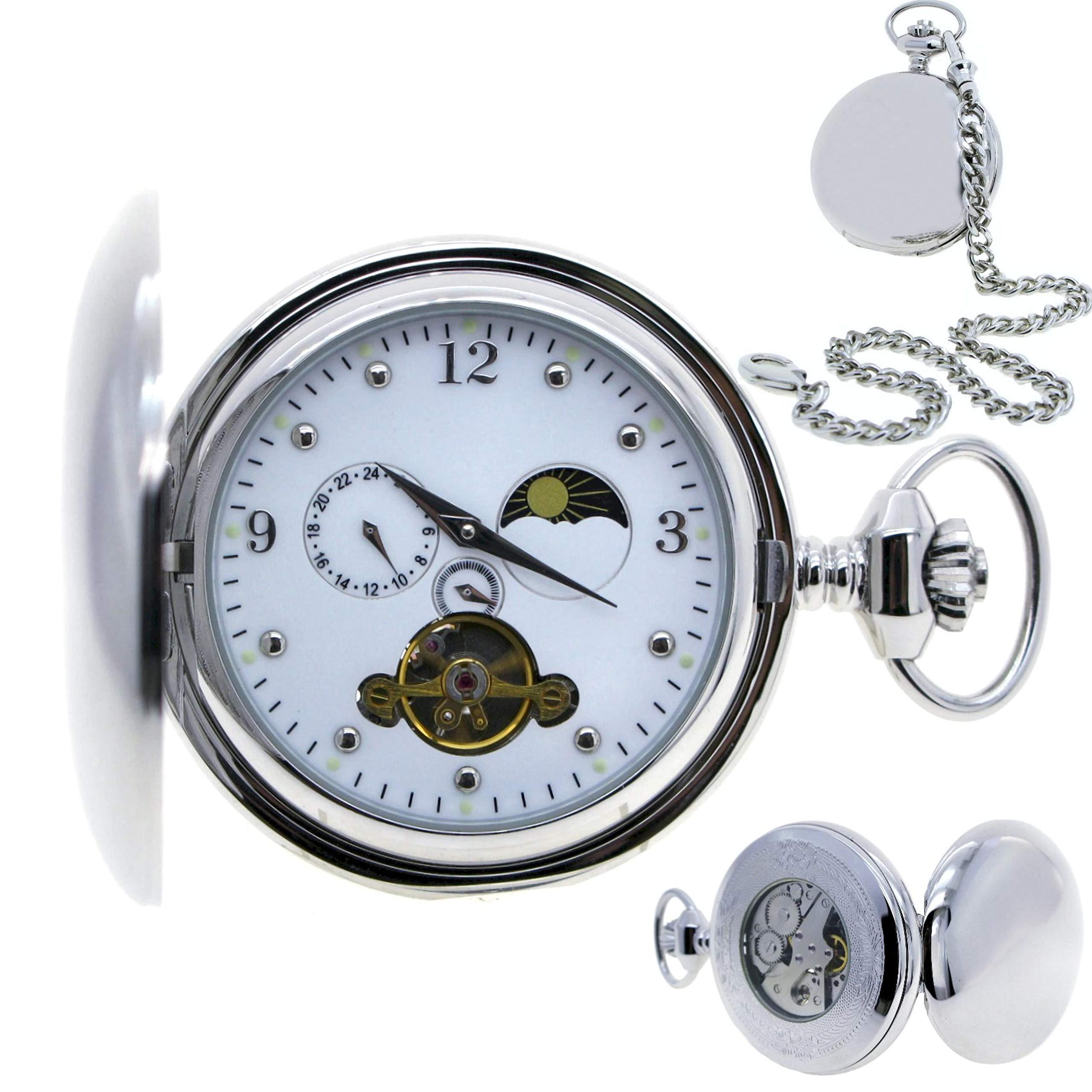 Tourbillon Mechanical Pocket Watch Skeleton Hand-Winding Silver Polish Sun & Moon Small Second 24 Hours White Enamel Dial P42B by watchvshop
