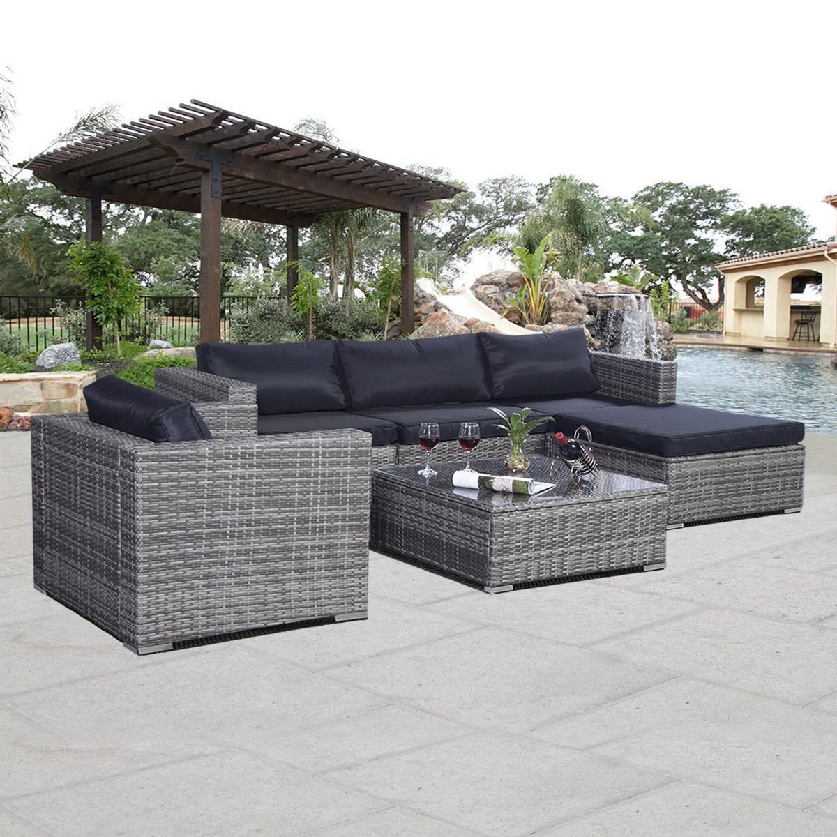 Amazon.com : Giantex 6pc Patio Sofa Furniture Set Pe Rattan Couch Outdoor  Aluminum Cushioned Gray : Garden U0026 Outdoor