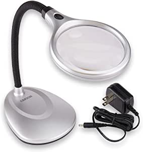 Carson DeskBrite200 LED Lighted 2x Magnifier and Desk Lamp for Hobby, Crafts, Inspection, Reading Books, Magazines, Newspapers, Model Building, Soldering, Jewelry Design, Needlepoint, Sewing and More (LM-20, LM-20MU)