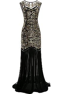Metme Womens 1920s Sequin Vintage Dress Formal Classic Mermaid Long Flapper Gown