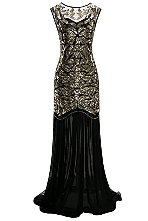 Metme Women\'s 1920s Beaded Sequin Vintage Classic Long Flapper ...