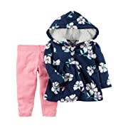 Carter's Baby Girls' 2 Piece Floral Fleece Hoodie And Pants Set 12 Months