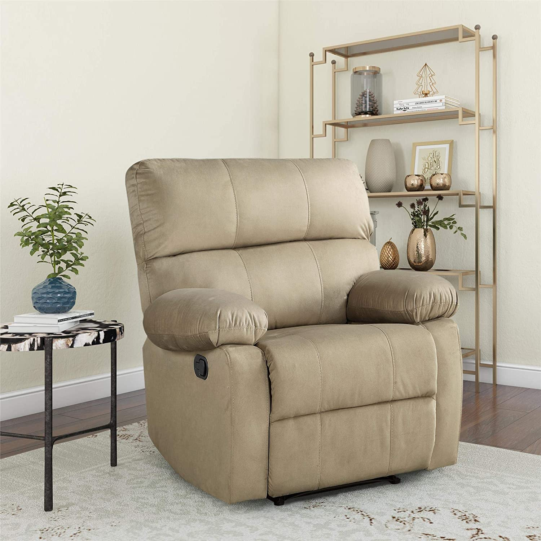Dorel Living Sterling Sofa Recliner Chair for Living Room, Beige