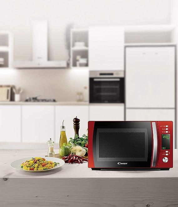 Candy CMXG 20DR - Microondas con Grill y Cook In App, 40 Programas Automáticos, 700 W, 20 L, Color Rojo