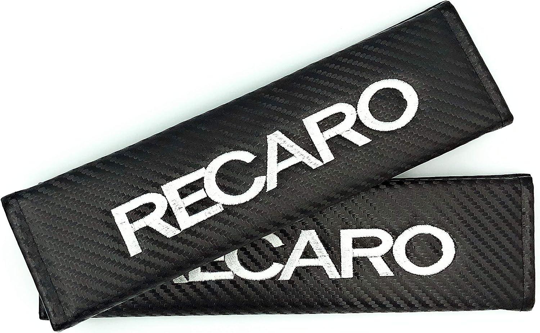 2 unidades Almohadillas para cintur/ón de seguridad efecto fibra de carbono Recaro