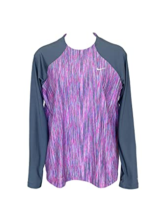 37b8fcb9 Nike Long Sleeve Hydroguard Female Women's Rash Guard Swim Top (Fuchsia  Blast/Navy,