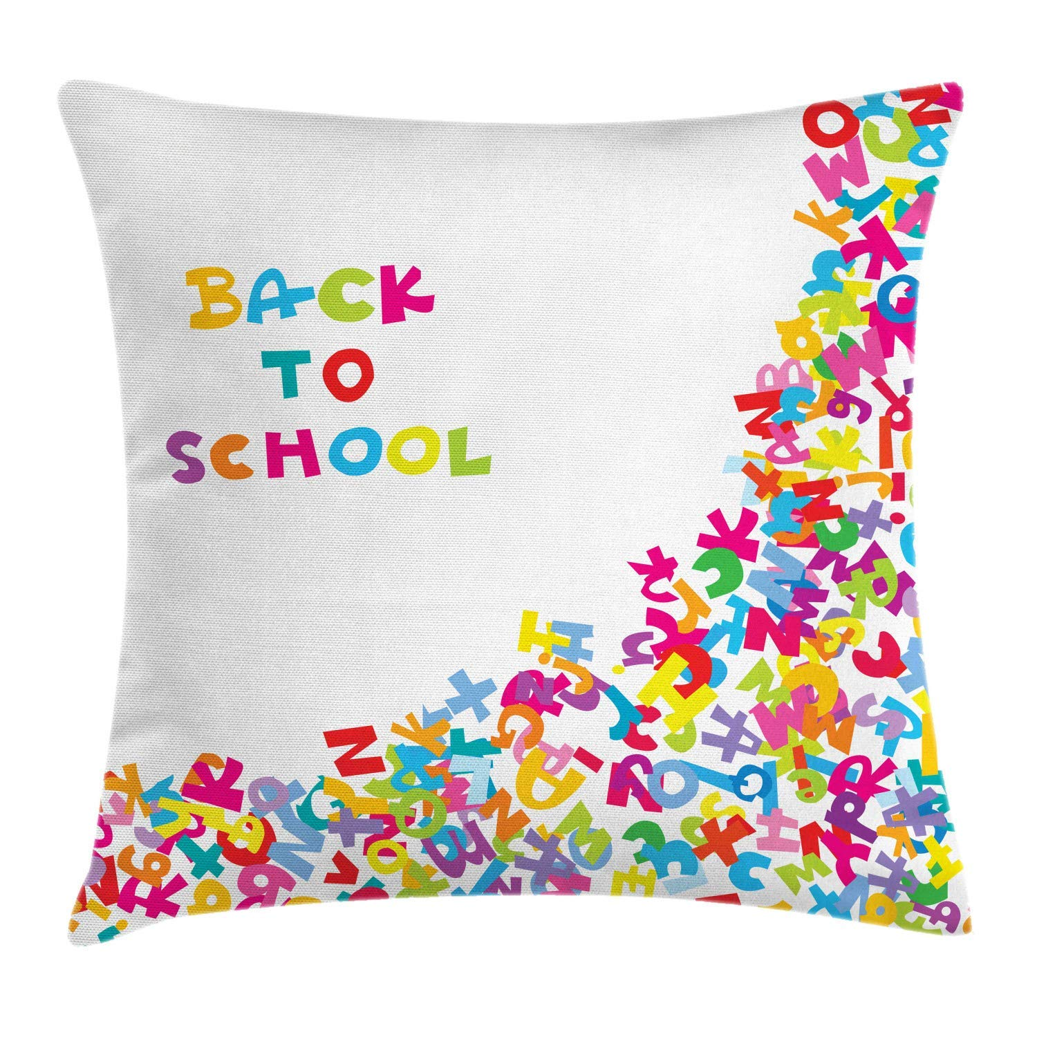 Donnay Back to School Throw Pillow Cushion Cover, Typography ...