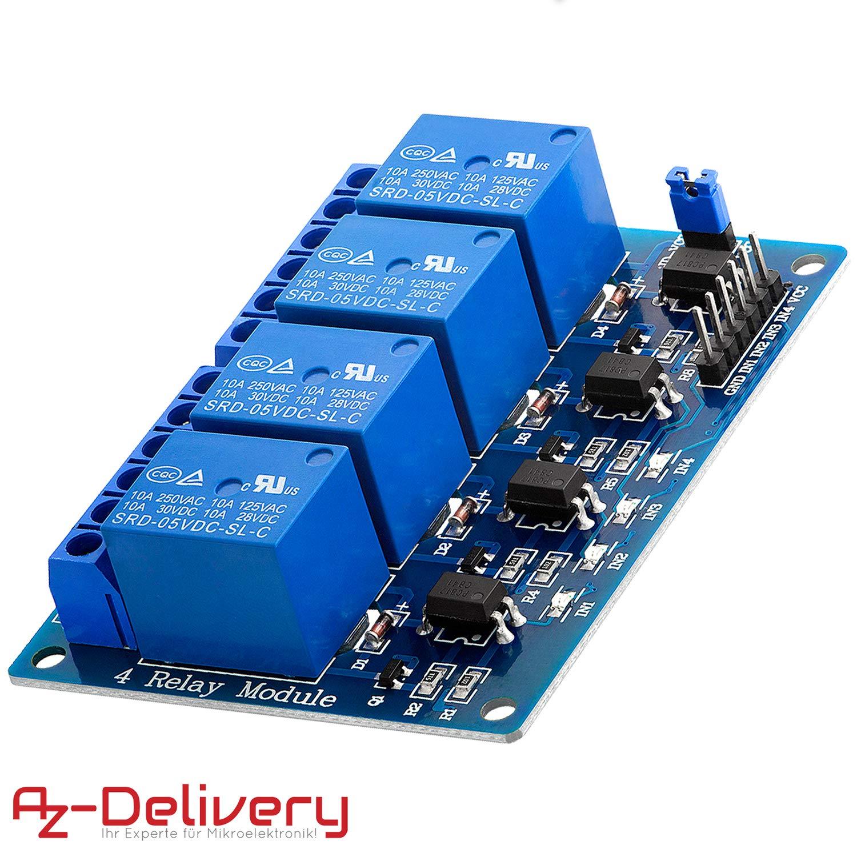 AZDelivery Rele Modulo de 4 canales 5V con optoacoplador Low-Level-Trigger para Arduino con eBook incluido