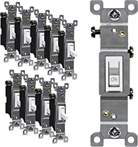 ENERLITES Toggle Light Switch, Single Pole, 15A 120-277V, Grounding Screw, Residential Grade, UL Listed, 88115-W-10PCS, White (10 Pack)