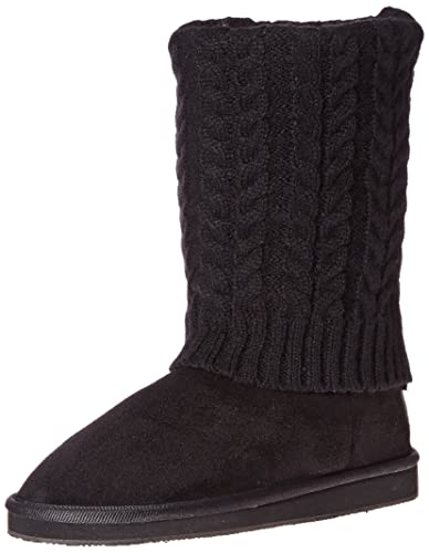 Women's Black Sweater Boots Mid Calf Foldover Cable Knit