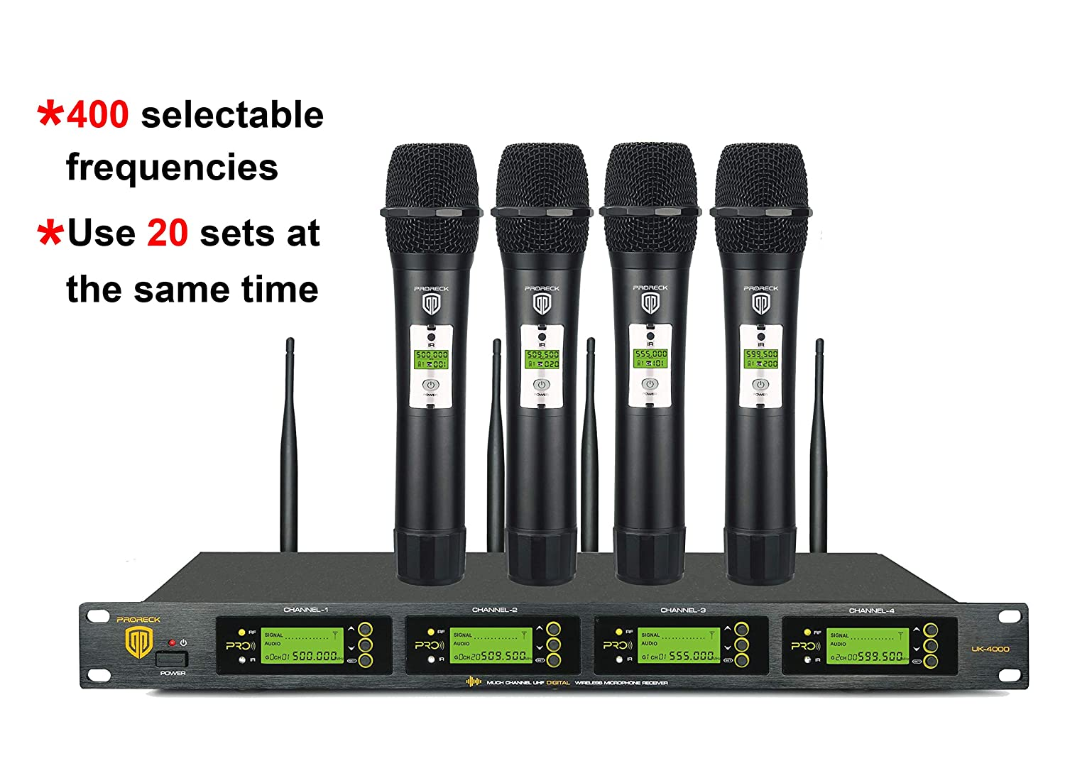 PRORECK UK-4000 UHF 4 Channel Wireless Microphone System with Four Handheld  Microphone with FCC Certification, Perfect for