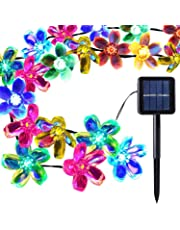Outdoor Solar Light Garden, Waterproof 50 Blossom Solar Powered Fairy Lights for Christmas, Tree, Home, Holiday, Fence, Yard, Wedding, Party Decoration - Multicoloured, 22FT, 8-in-1 Mode