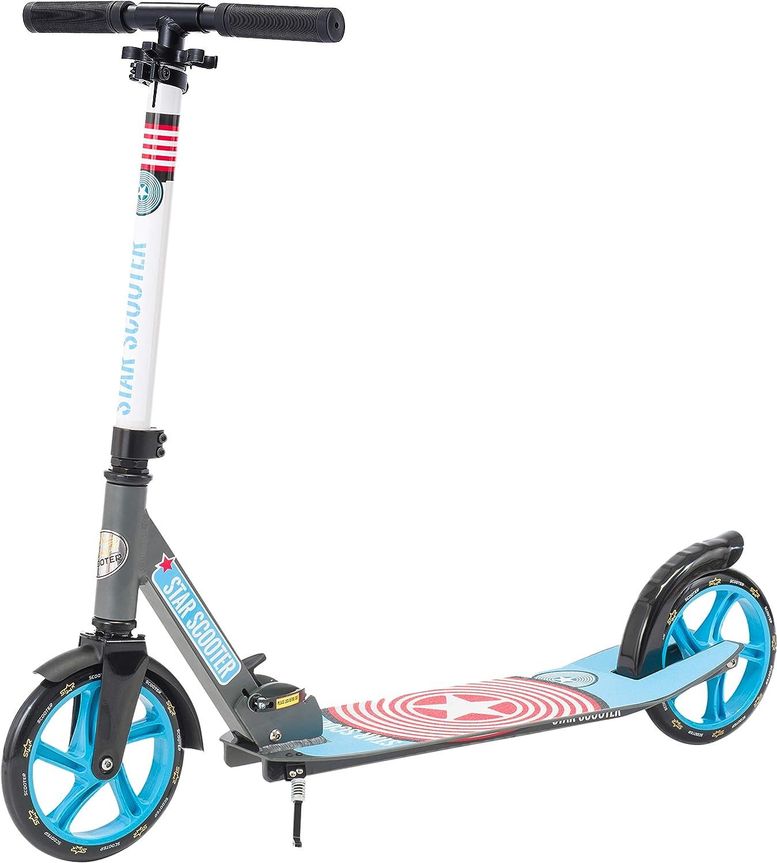 Star-Scooter Patinete Patineta Scooter Plegable XXL para niños y niñas a Partir de 6-7 años y Adultos para Ciudad | 205 mm Edición mas Ancha, con más Espacio para los pies