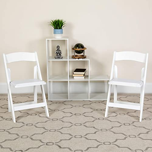 Flash Furniture 4 Pk. HERCULES Series White Wood Folding Chair with Vinyl Padded Seat