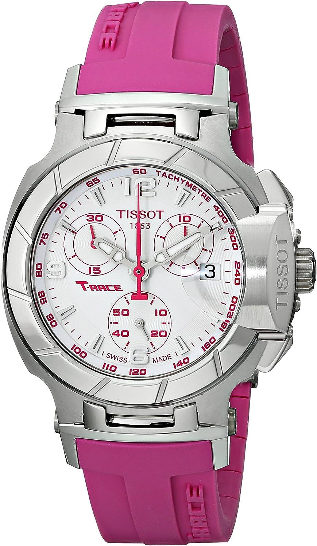 Tissot T0482171701701 T-Race Reloj para Mujer con Esfera Blanca y Correa de Silicona Rosa