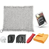 KitchWhiz (6-in-One + eBook) Cast Iron Cleaner XL , Premium Stainless Steel Chainmail Scrubber With Bonus Iron Skillet Handle Holder + Pan Scraper + Grill Scraper + Kitchen Towel + Drying Hook