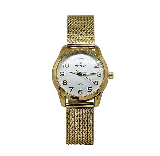 Reloj Mujer, marca Nowley, acero chapado con malla chapada, esfera blanca y números dorados: Amazon.es: Relojes