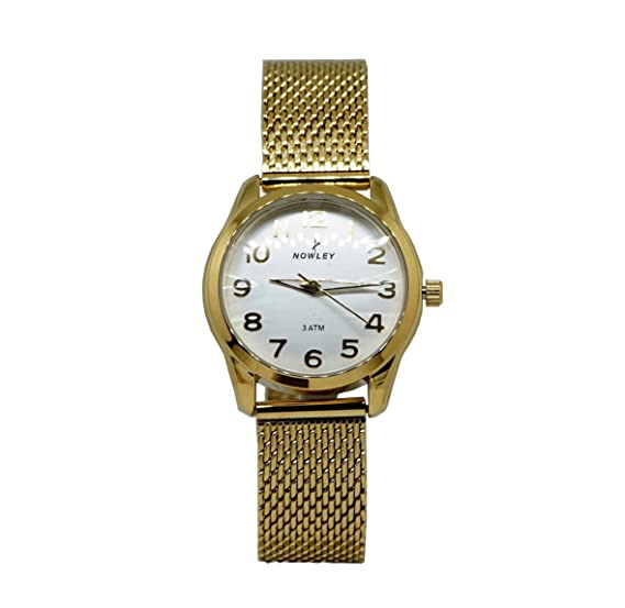 Reloj Mujer, marca Nowley, acero chapado con malla chapada, esfera blanca y números