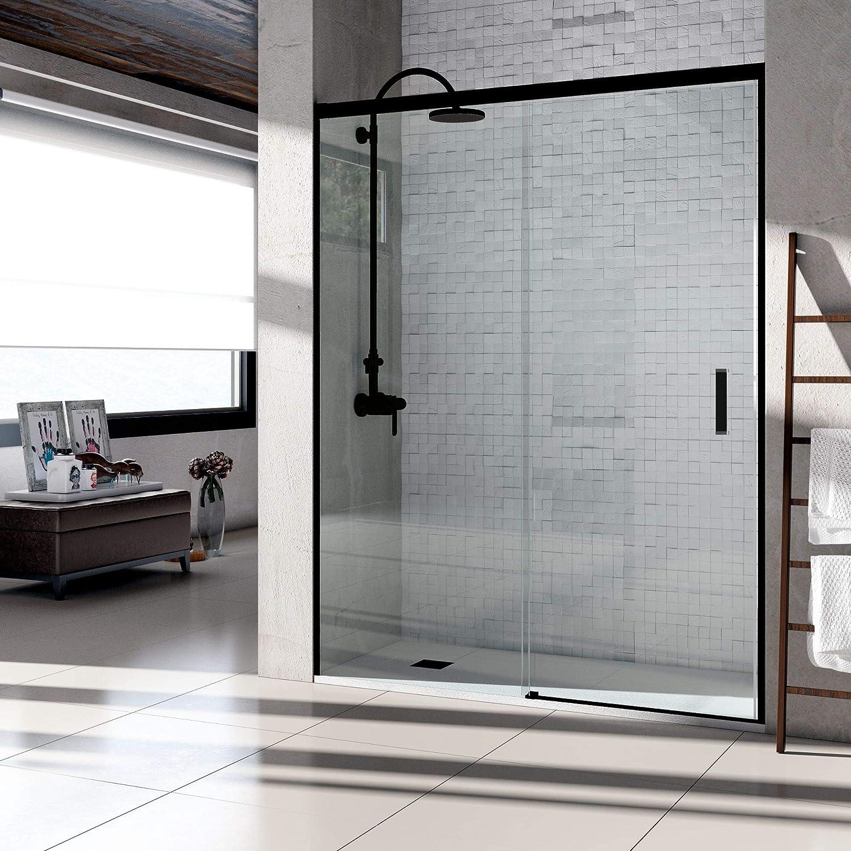 VAROBATH .Mampara de ducha con apertura frontal de puerta corredera, perfil NEGRO y cristal transparente con 6 mm de ...