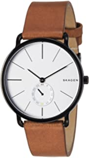 Skagen Mens Hagen Watch in Blacktone With Brown Leather Strap