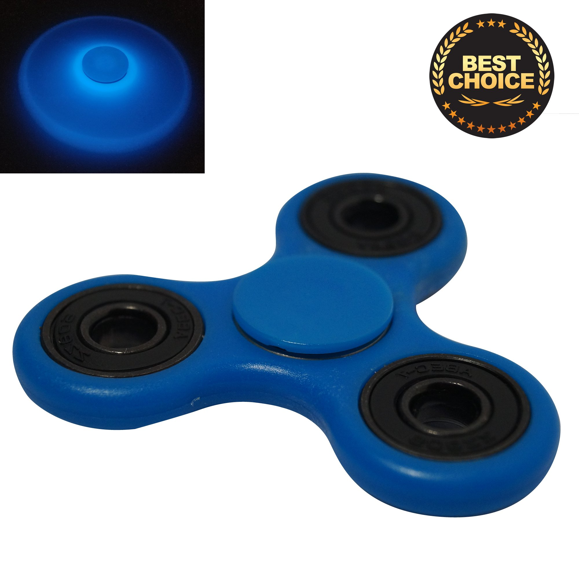 Fidget Spinner GLOW IN THE DARK PRIME Toy Premium Ceramic Bearing Helps Focusing ADD ADHD Perfect for Anxiety Boredom and Autism in Children and Adults Best Stress reducer FLUORESCENT SERIES BLUE by Xget