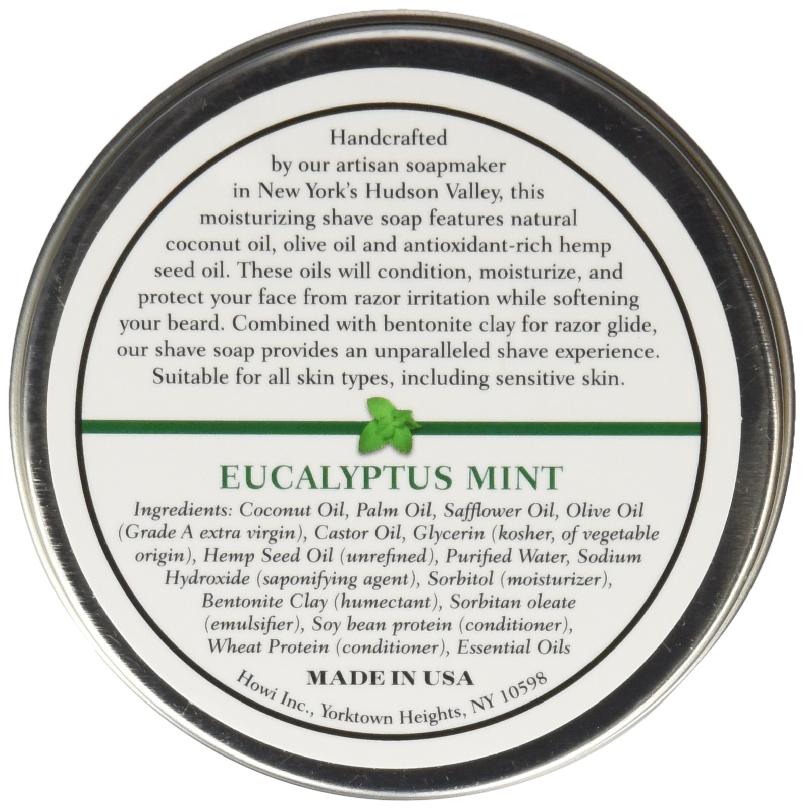 Taconic Shave Barbershop Quality Eucalyptus Mint Shaving Soap with Antioxidant-Rich Hemp Seed Oil