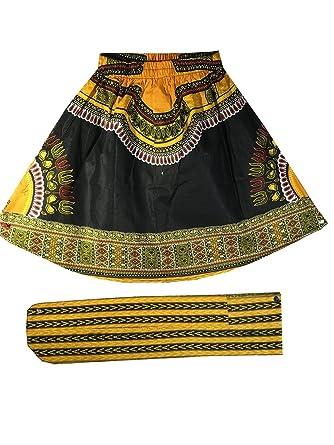 f53f1bb93 Amazon.com: Decoraapparel Girls African Wax Skirt Ankara Print Vintage Kid  Sizes 3T to 5T One Size (Black Orange Dashiki Print 1): Clothing