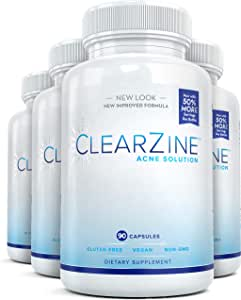 ClearZine Acne Pills (4 Bottles) for Teens & Adults | Clear Skin Supplement, Vitamins for Hormonal & Cystic Acne | Stop Breakouts, Oily Skin and Zits with Zinc, Pantothenic Acid, 90 Caps