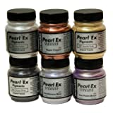 Jacquard Pearl-Ex Non-Toxic Powder Pigment Set, 0.75 oz Bottle, Assorted Metallic Color, Set of 6