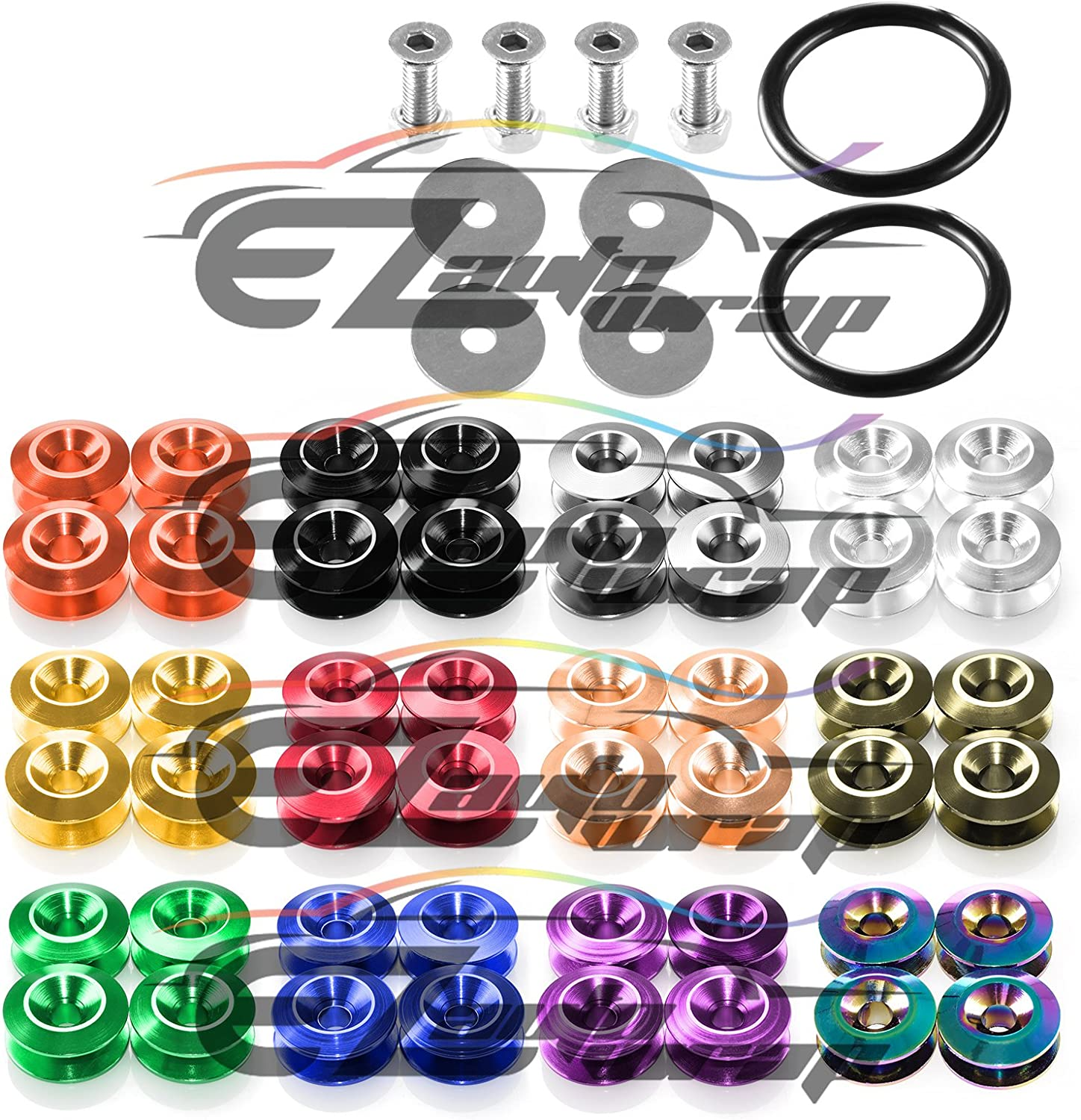EZAUTOWRAP Black Spiked Quick Release Fasteners for Car Bumpers Trunk Fender Hatch Lids Kit