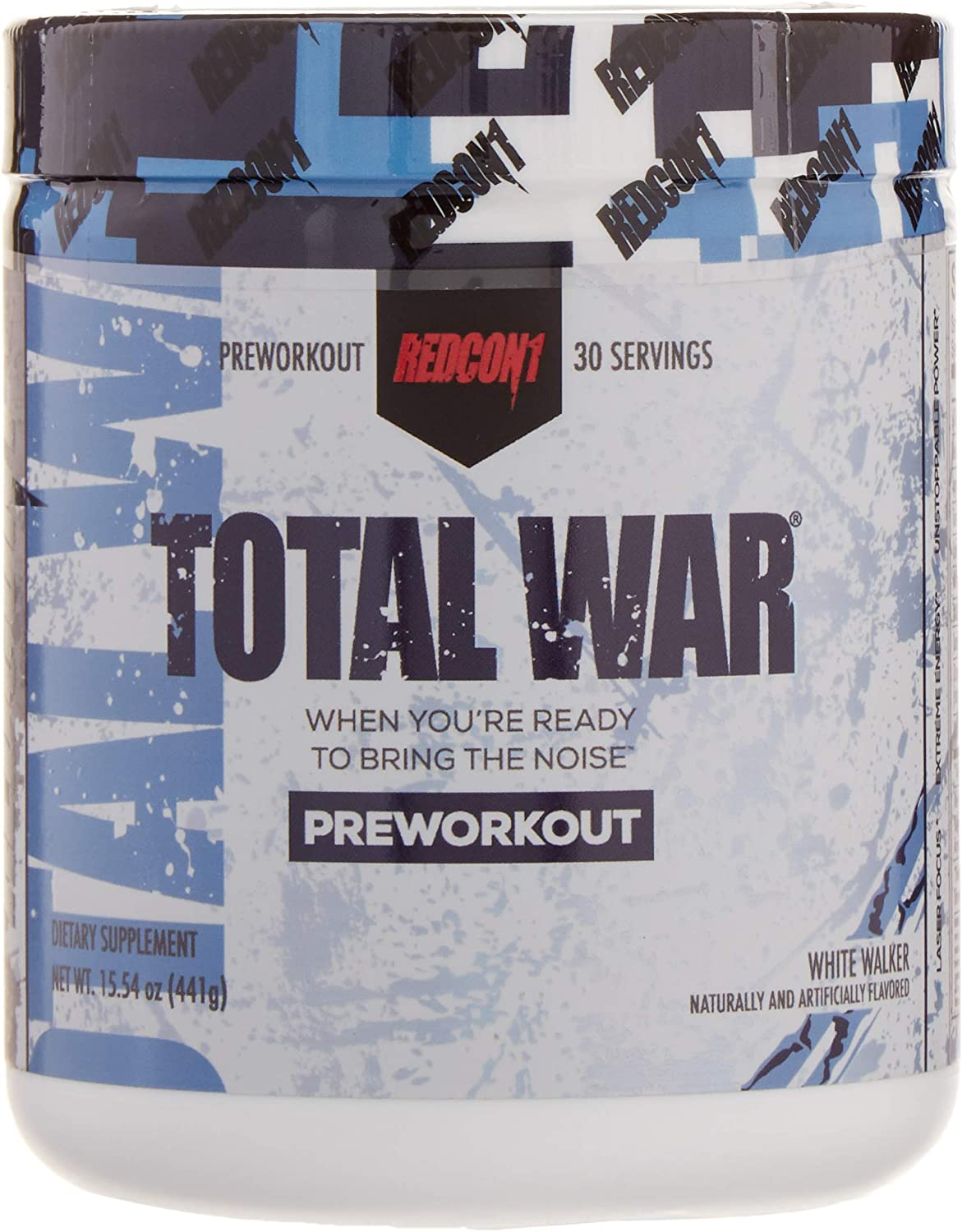 Redcon1 Total War – Pre Workout, 30 Servings, Boost Energy, Increase Endurance and Focus, Beta-Alanine, Caffeine White Walker