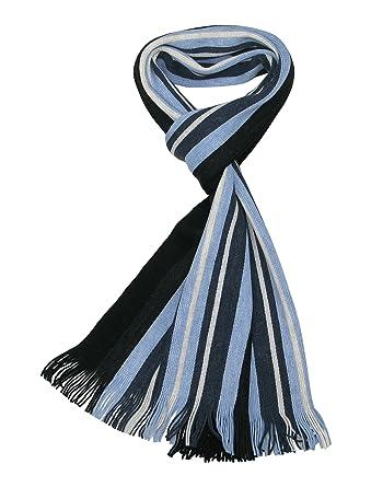 20e961a41c9 LOVARZI Bleu Foulard rayée hommes - Echarpe pour hommes - Echarpe rayures  homme - Foulards d