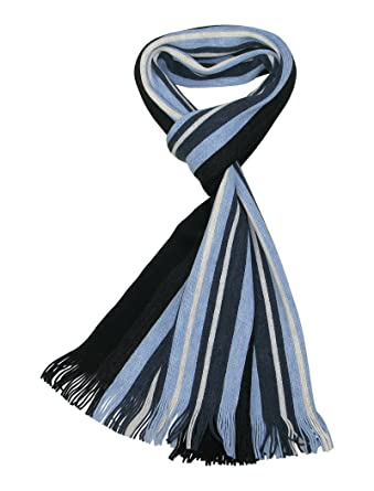 LOVARZI Bleu Foulard rayée hommes - Echarpe pour hommes - Echarpe rayures  homme - Foulards d a2deda5c4af