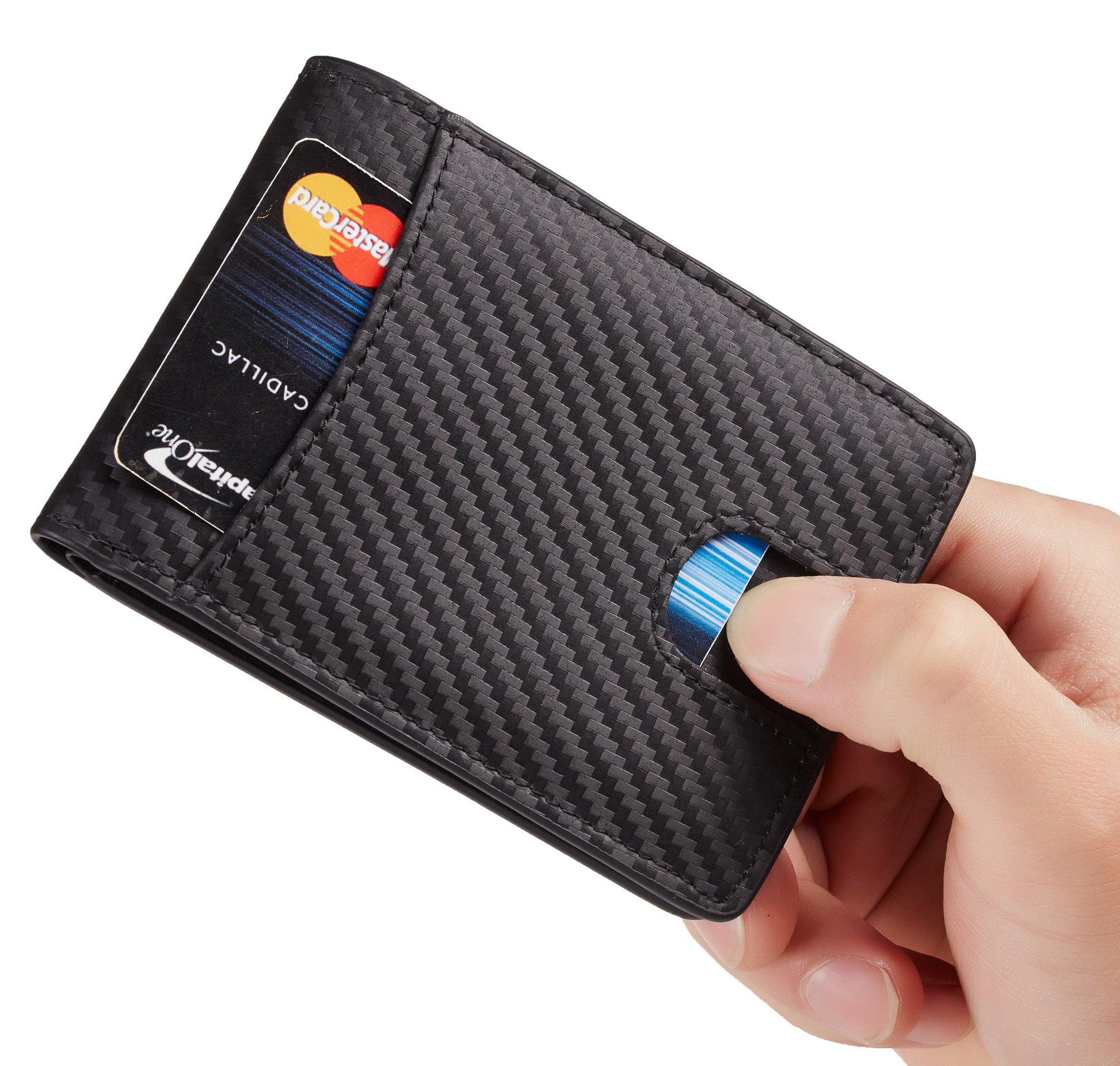 Casmonal Mens Leather Wallet Slim Front Pocket Wallet Billfold RFID Blocking (carbon fiber leather black) by Casmonal (Image #5)
