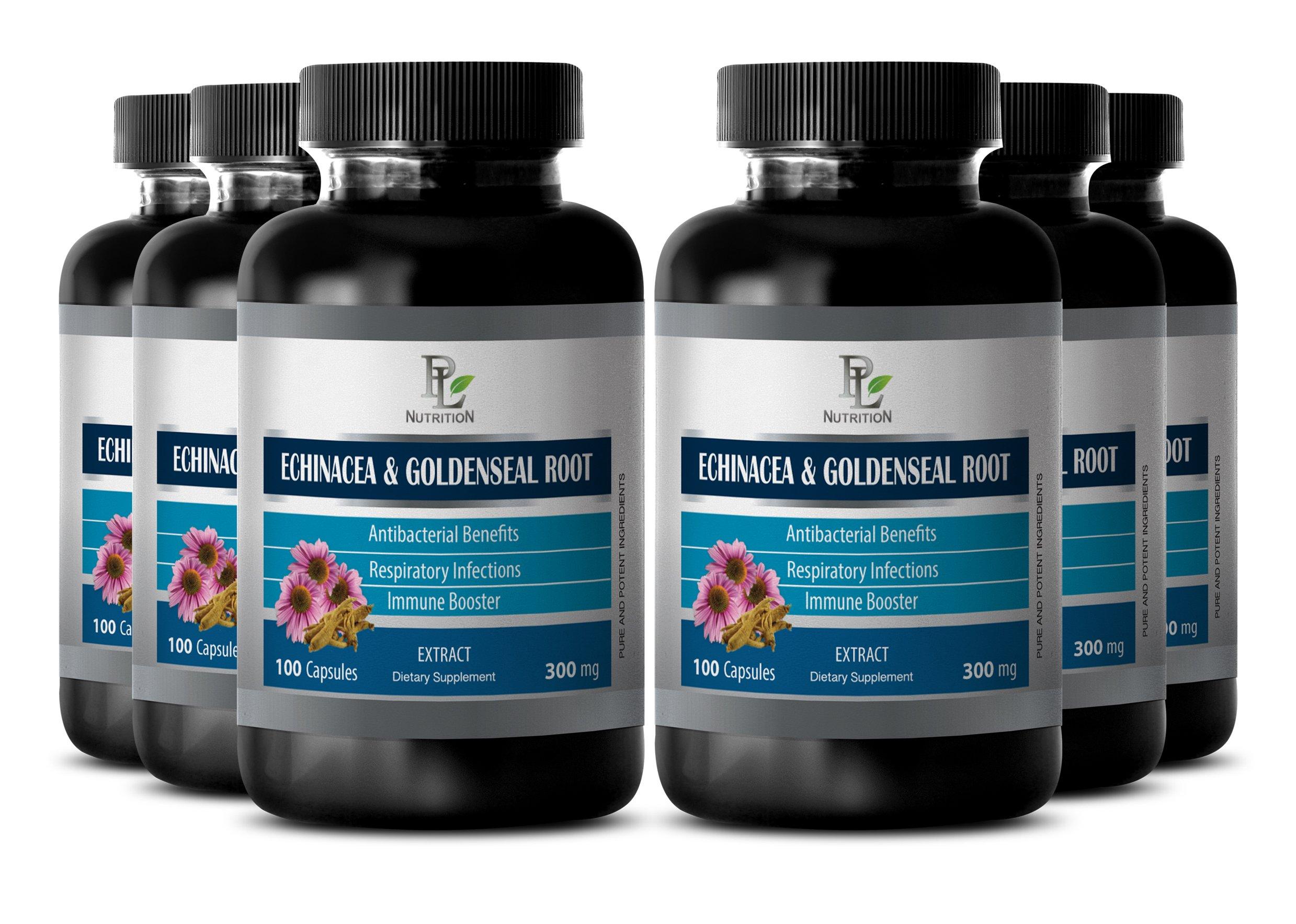 Throat health - ECHINACEA AND GOLDENSEAL ROOT - Goldenseal bulk - 6 Bottles 600 Capsules