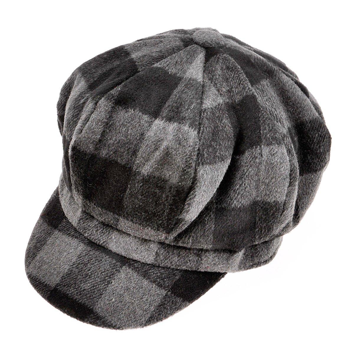 Womens Classic Newsboy Caps Visor 8 Panel Gatsby Apple Cabbie Hat Black ZYJ-MZ-047-BK-1