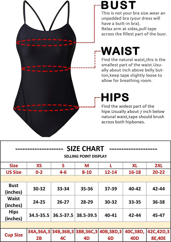 EBMORE Womens One Piece Swimsuit Bathing Suit Athletic Sport Training Exercise Swimwear