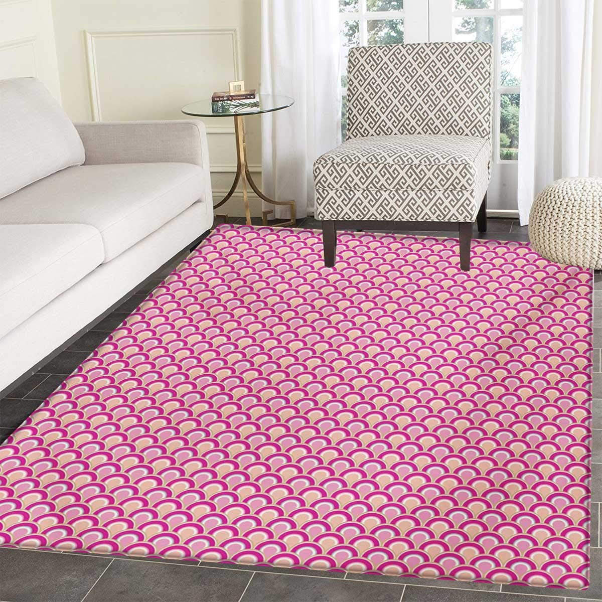 Pink Door Mat Rug Overlapping Circles Dotted Design Vibrant Colored Sea Inspired Wavy Print Bath Mat 3D Digital Printing Mat 24'x36' Pink Magenta Peach Anhounine