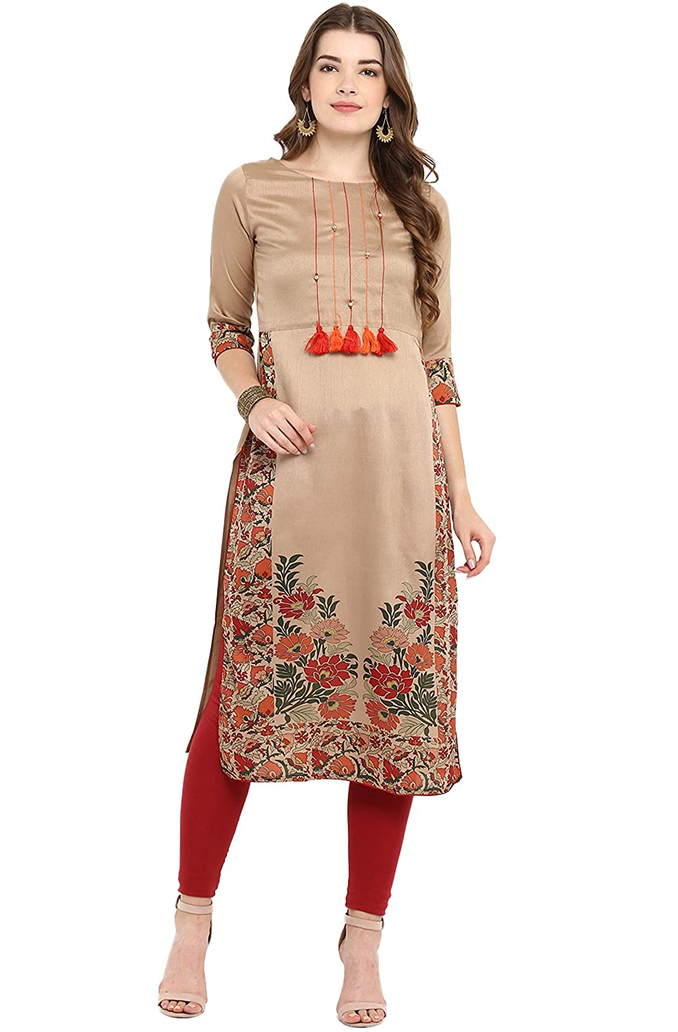 Women's Poly Silk Straight Floral Print Kurta