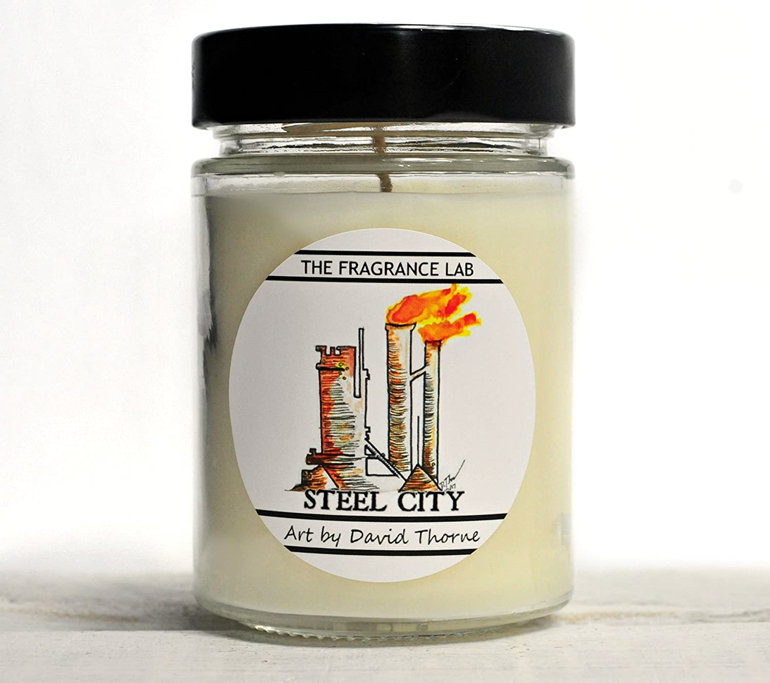Hamilton Soy Candles -Steel City Smoke Scented   Art by David Thorne   The Fragrance Lab