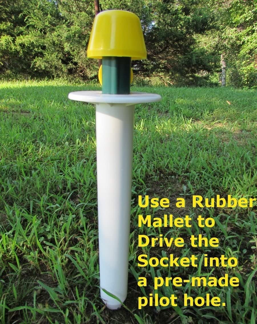 Jones Sports Ground Sockets with Yellow Cover Cap for Lining Fields Bird feeders Smart Posts
