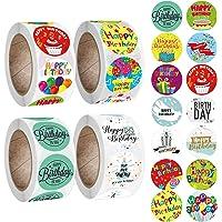 2000 Stuks Gelukkige Verjaardag Stickers, EBANKU Zelfklevende Etiketten Ronde Decoratieve Verzegelende Etiketten Vier…