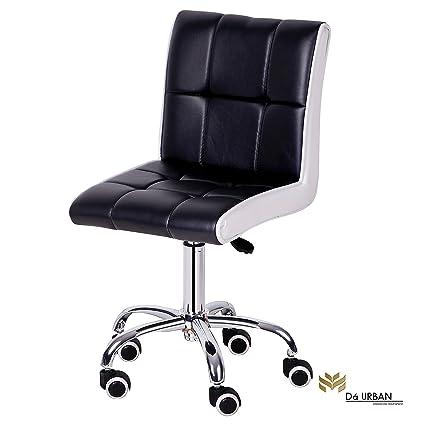 Da URBAN Height Adjustable Black & White Cadbury Cafeteria & BAR Wheels Stool/Chair (ISO and BIFMA Certified)