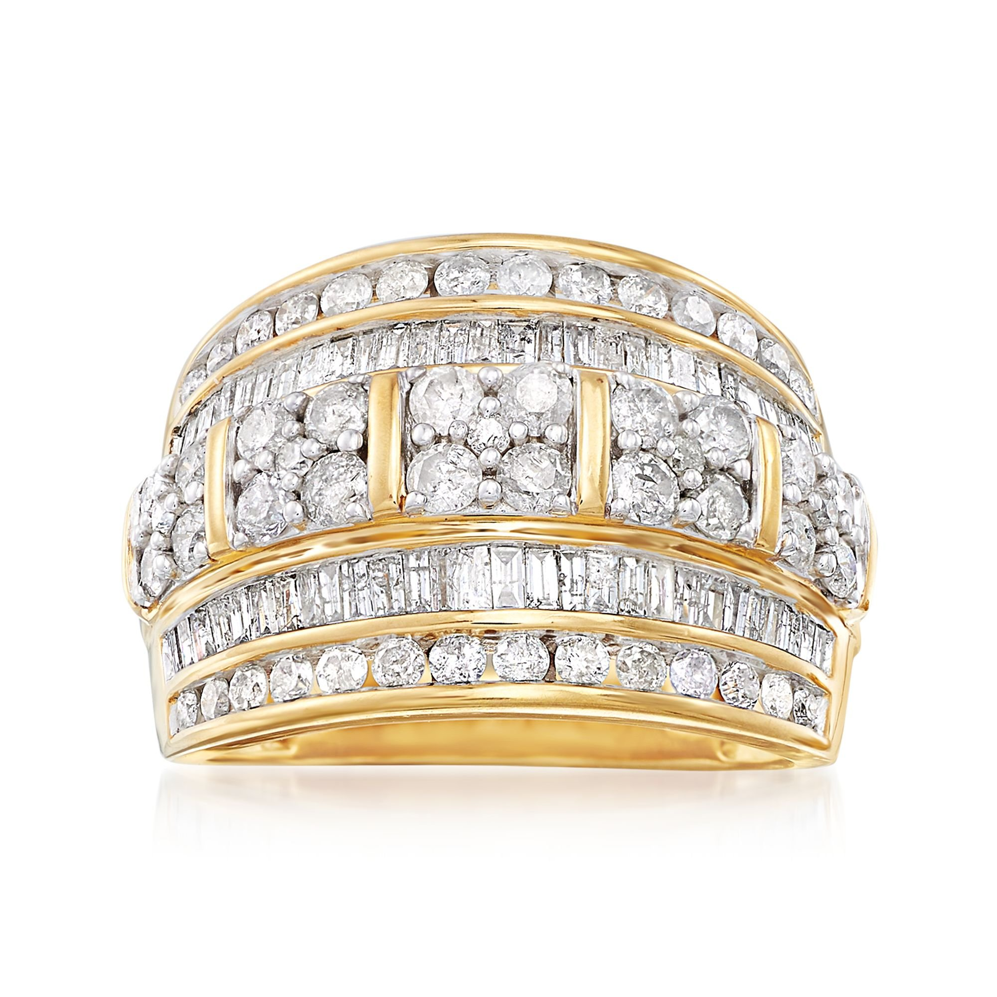 Ross-Simons 2.00 ct. t.w. Baguette and Round Diamond Multi-Row Ring in 18kt Gold Over Sterling