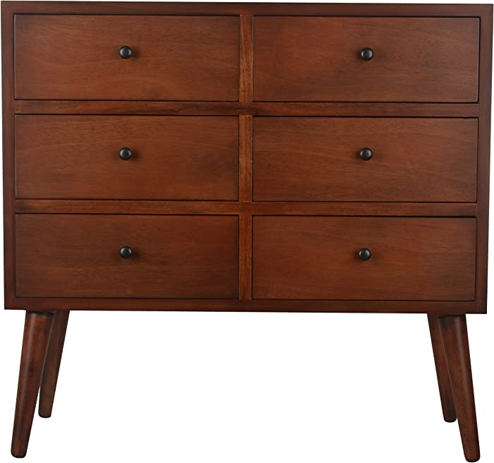 Décor Therapy Mid Century Six Drawer Wood Accent Chest, Light Walnut