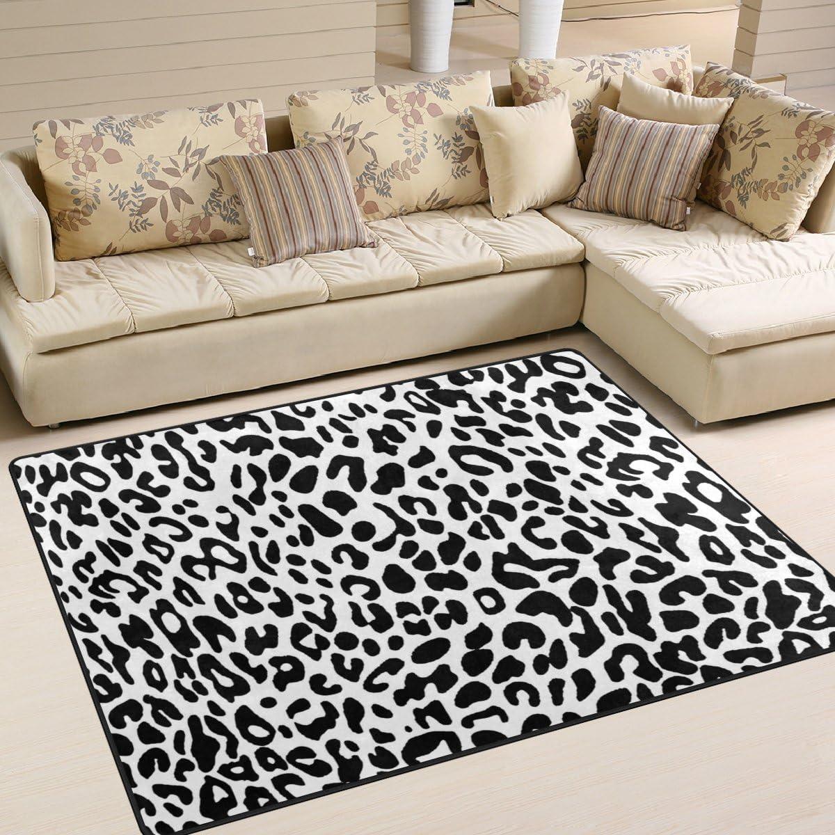 La Random Leopard Pattern Black And White Area Rug Decorative Shaggy Rugs 80×58 Inche