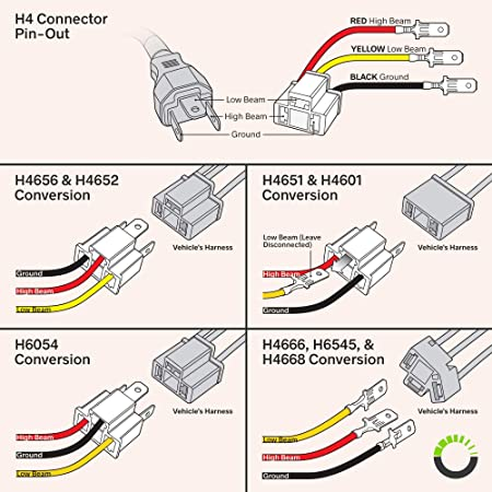 FOR H4652, H4656, H4666, H6545 H4 Plug and Play 9003//HB2 Headlight Socket Converter Kit Head Light Wiring Harness Connector Plug