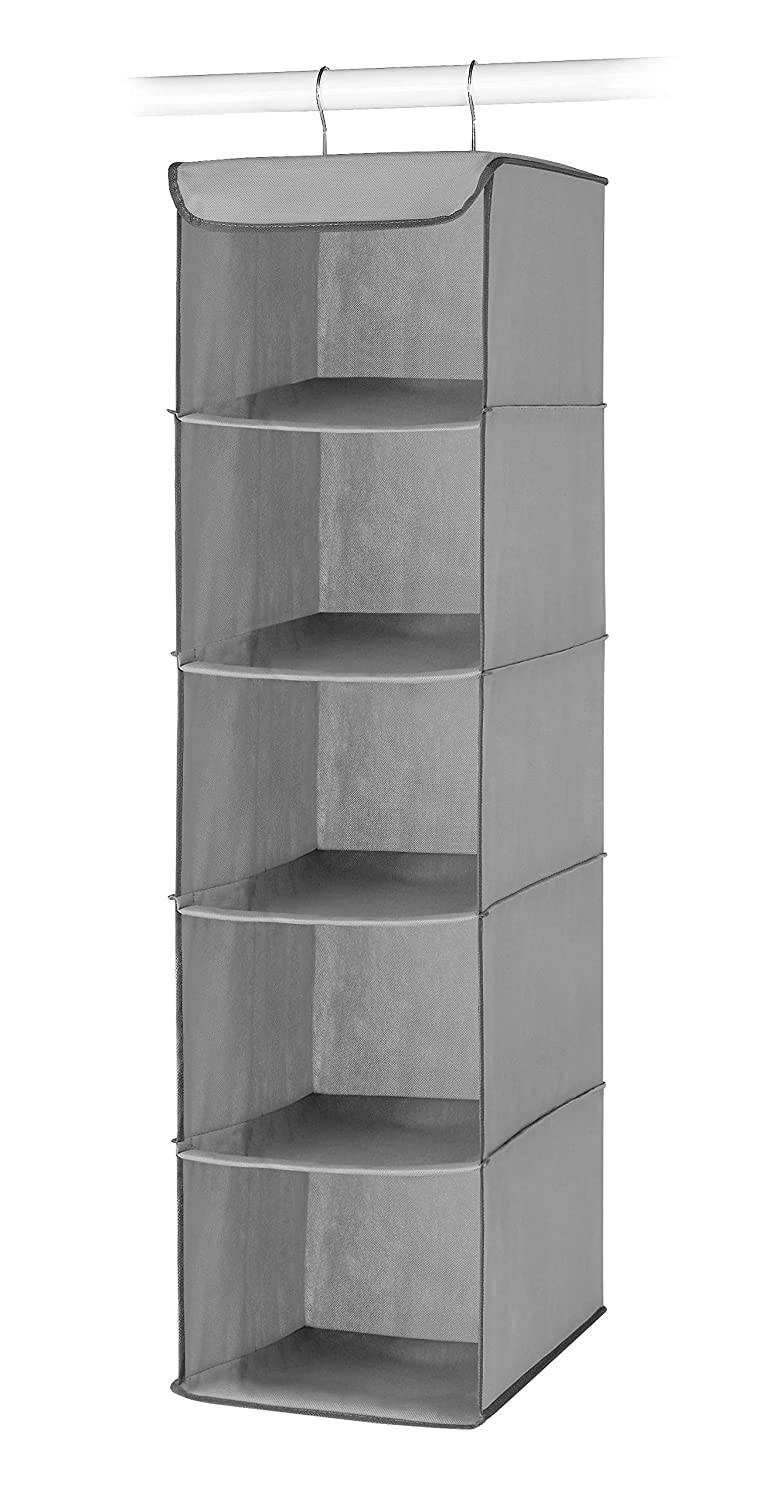 Whitmor 5 Section Closet Organizer - Hanging Shelves with Sturdy Metal Frame