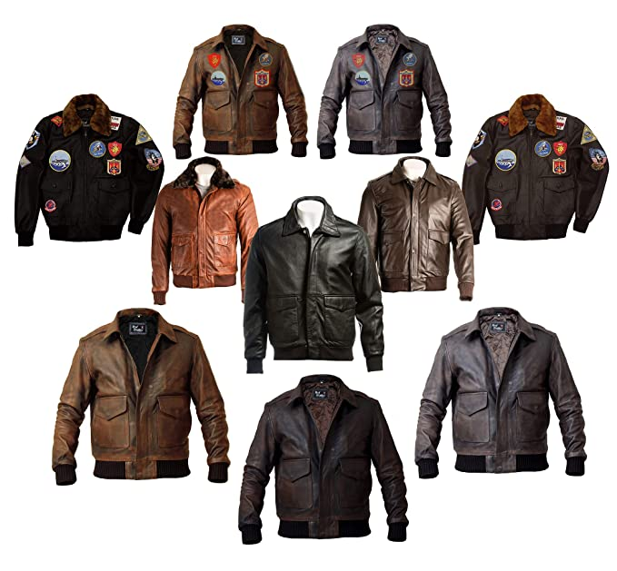 Mens A-2 Aviator Jacket - Flight Bomber Distressed Brown Pilot Real Leather Jacket - Bomber Leather Jacket Men