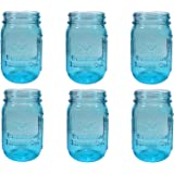 Sunshine Mason Co. Pint Sized Regular Mouth Glass Mason Jars Vintage Blue Color